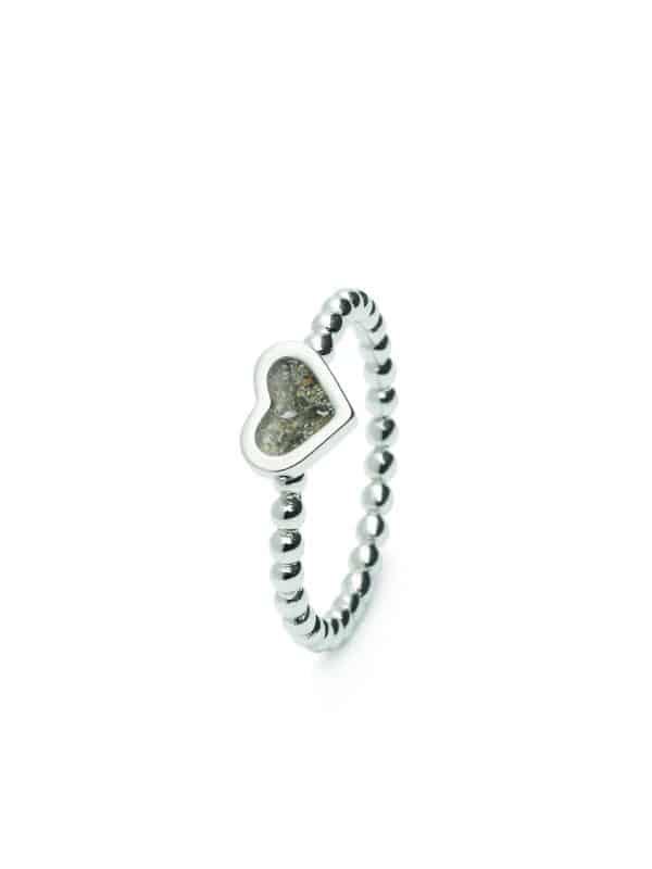Assieraden zilver ring hart
