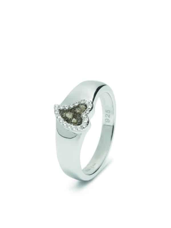 Assieraad zilver hart ring