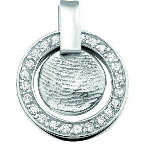 Vingerafdruksieraad hanger zilver