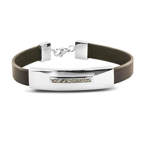 Assieraad armband leer zilver