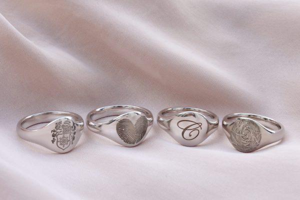 Vingerafdruksieraad ring zilver