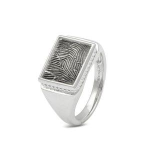 Vingerafdruksieraad zilver ring
