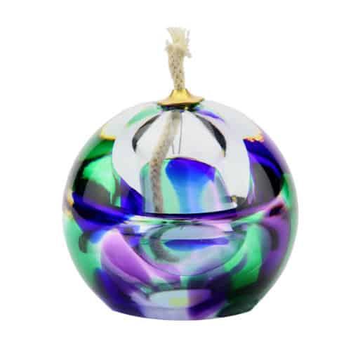 Urn olielampje crematie as glas