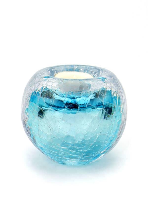 Urn waxinelicht blauw crematie as