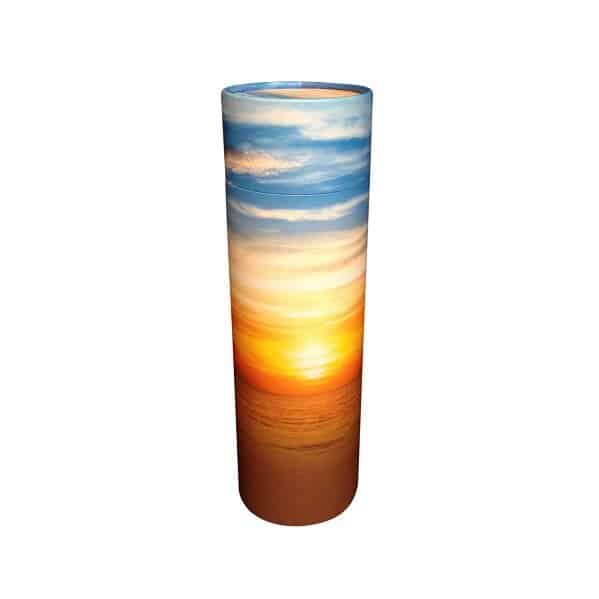 Urn strooikoker zonsondergang crematie as