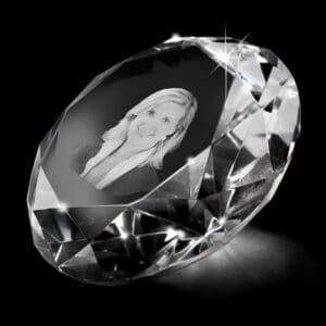 diamant vingerafdruk foto in glas