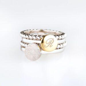 Assieraad ring zilver vingerafdruk