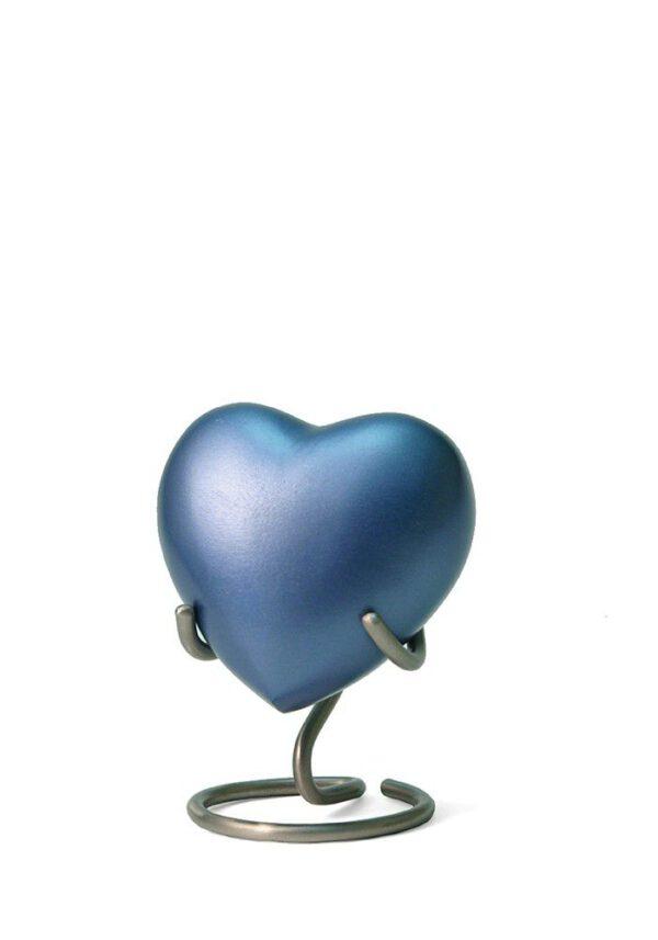 Mini urn hart blauw