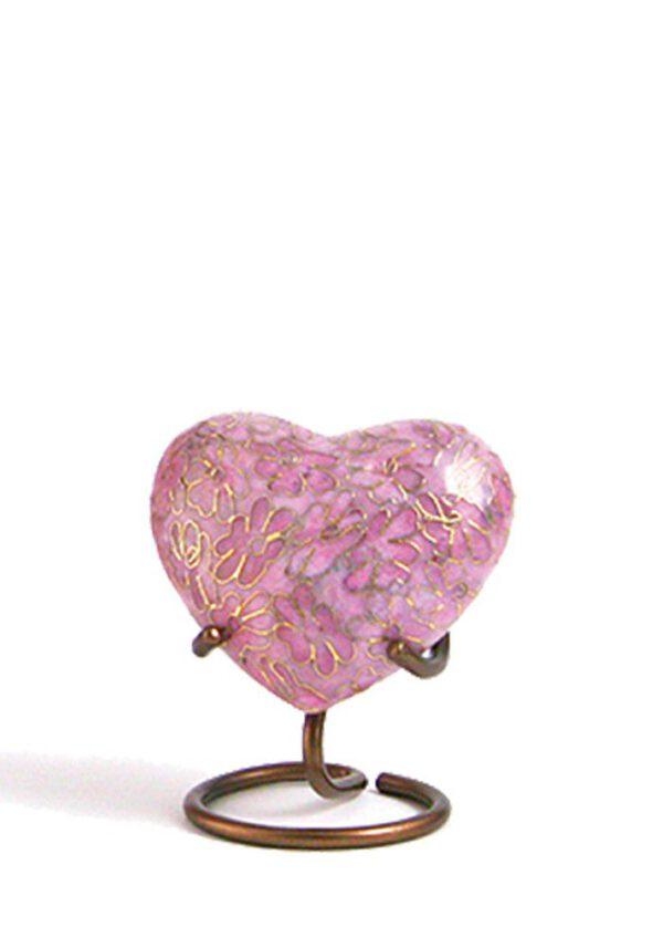 Mini urnen hart roze bloemen