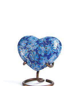 Mini urn hart blauw bloemen
