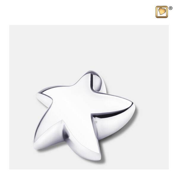 K621 Urn ster glimmend zilver
