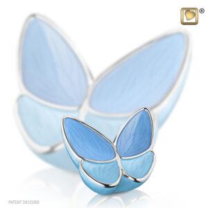 Urn mini vlinder blauw