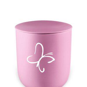 Urn kind roze vlinder