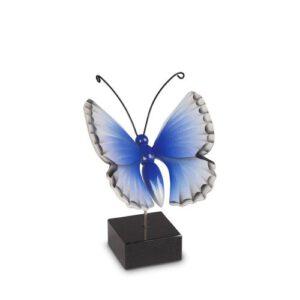 Vlinderurn hout blauw
