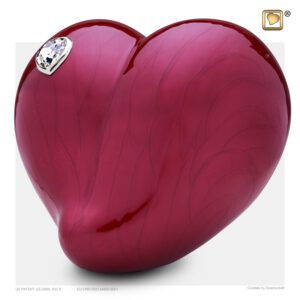 A1000 LoveHeart™ Adult Urn Pearl Red & Pol Silver w/Swarovski®