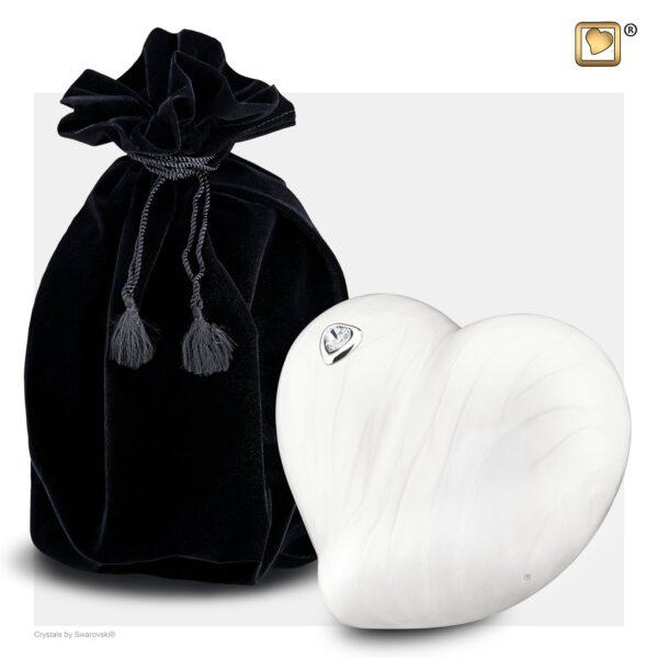 P1003 LoveHeart™ Child Urn Pearl White & Pol Silver w/Swarovski®