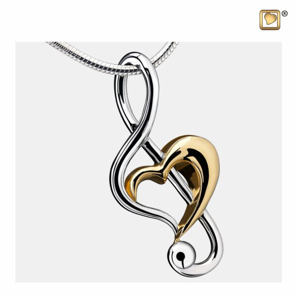PD1250 PENDANTTreble Clef Heart™ Rhodium Plated Gold Vermeil Two Tone