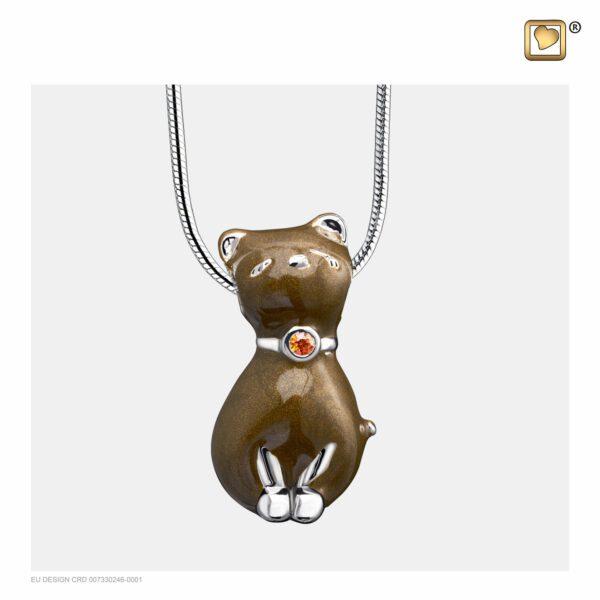 PD1262 PENDANT Princess Cat™ Bronze Enamel Rhodium Plated with Topaz Swarovski® Crystal