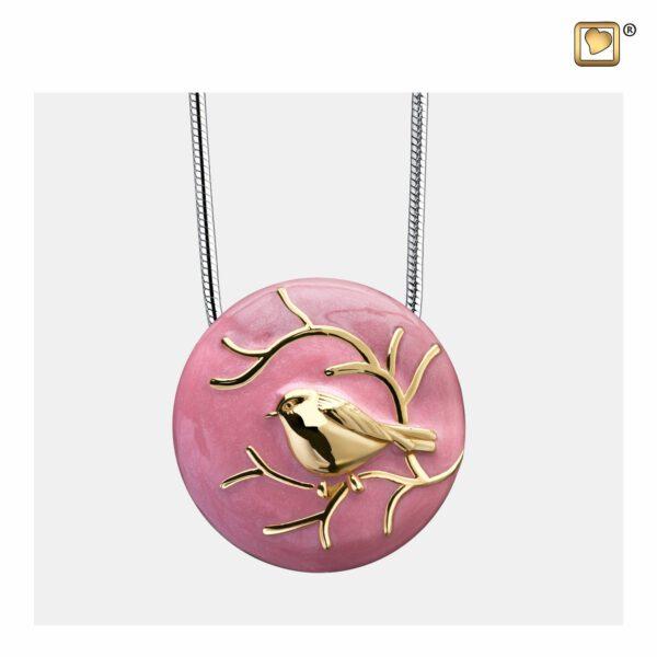 PD1270 PENDANT BlessingBirds™ Pink Enamel Gold Vermeil