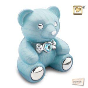 C1011 CuddleBear™ Child Urn Pearl Blue & Pol Silver w/Swarovski®