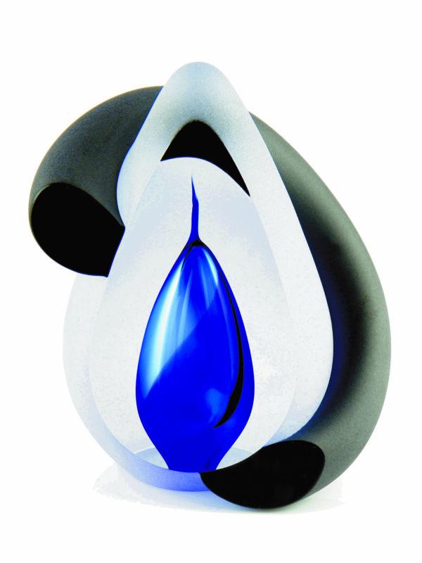 Urn glas bow blue