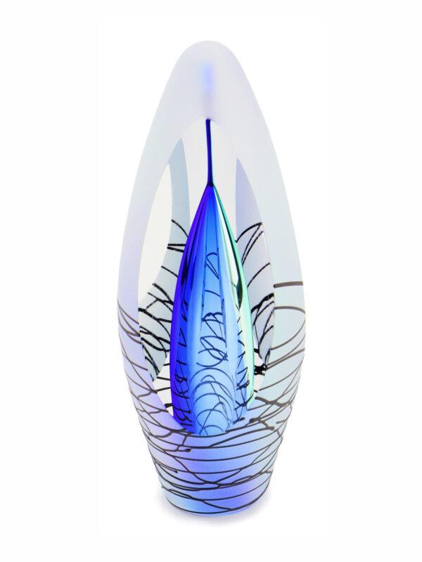 Glazen urn spirit krakele blie scaled