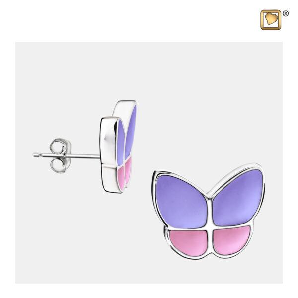 ER1200 oorbellen vlinder roze-paars