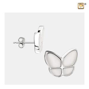 ER1202 assieraad oorbellen vlinder wit