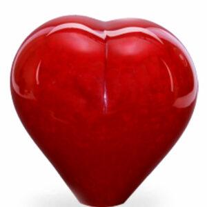 U35BHOR glazen urn hart rood
