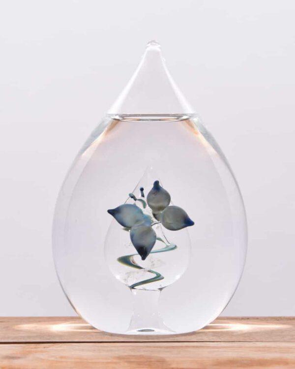 Glazen urn druppel vlinder crematie as