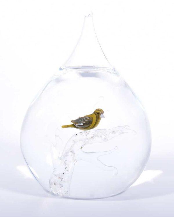Glazen urn druppel vogel crematie as