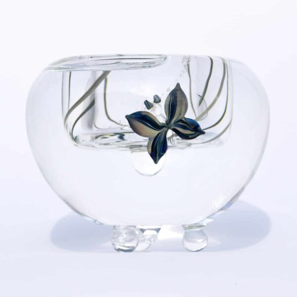 Glazen urn waxinelicht crematie as vlinder