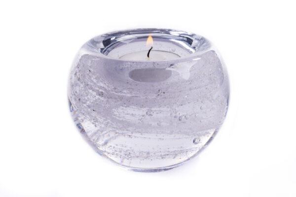 Glasreliek waxinelichthouder wit crematie as