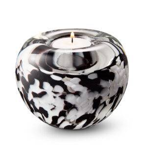 A12TBLWO_BlackWhiteOpaque tealight urn