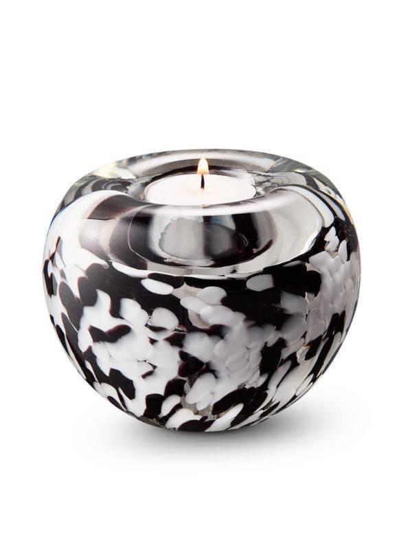 A12TBLWO_BlackWhiteOpaque tealight urn