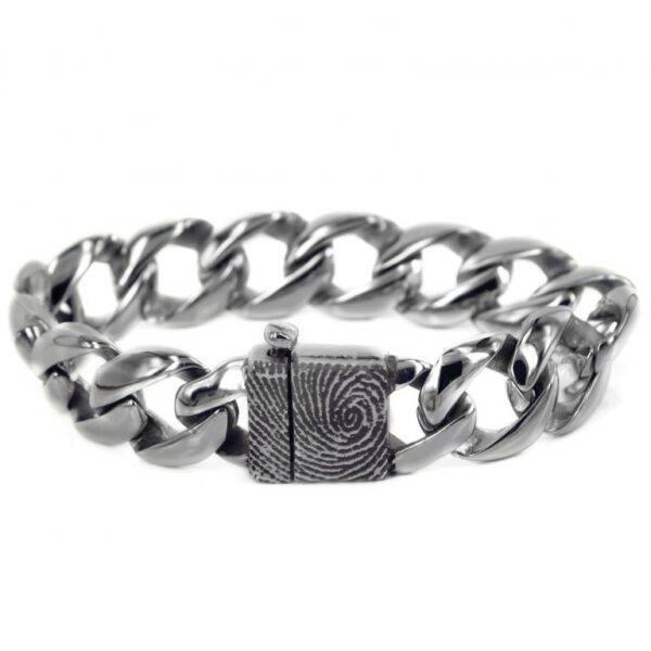 Vingerafdruk armband edelstaal