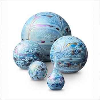 Urn glas bol elan line marble blue
