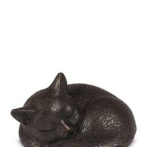 Mini urn slapende poes Brons